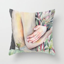 Serena Watercolor Forest Girl, holding Protea and Lotus Plants Throw Pillow