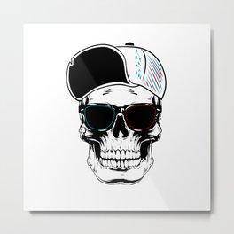 White Art Stylish Skull Metal Print