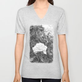 Pink Roses in Anzures 5 Charcoal Unisex V-Neck