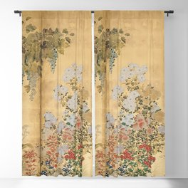 Japanese Edo Period Six-Panel Gold Leaf Screen - Spring and Autumn Flowers Blackout Curtain