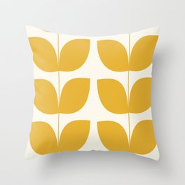 Mid Century Modern Leaves Yellow #society6 #buyart  Throw Pillow