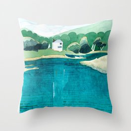 View From Falls Point Marine, Maine Throw Pillow