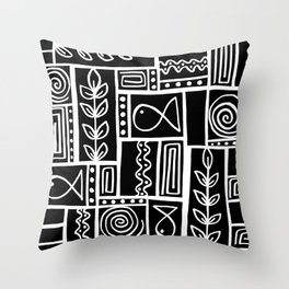 Fishes Seaweeds and Shells - Black Throw Pillow
