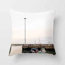 Fishing boats at dusk, docked in a small english harbour town. Throw Pillow