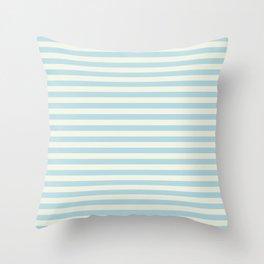 Blue Plume Pale Creme Stripe Throw Pillow
