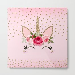 Pink & Gold Cute Floral Unicorn Metal Print