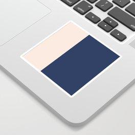 peach and navy stripes, minimalist, simple design, cool, chic, modern, elegant Sticker