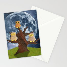 Owling at the Moon Stationery Cards