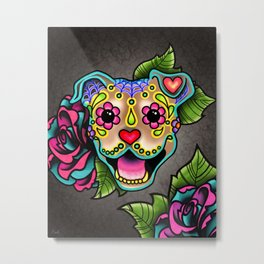 Smiling Pit Bull in Fawn - Day of the Dead Pitbull Sugar Skull Metal Print