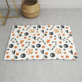 Happy halloween pattern with candies and lollipops Rug