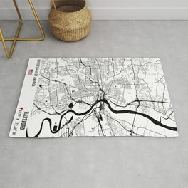 Hartford, USA Road Map Art - Earth Tones Rug