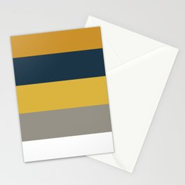Broad Stripes in Light and Dark Mustard, Navy Blue, Gray, and White Stationery Cards