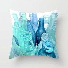 Aqua Bottles Throw Pillow