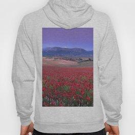Big Fields Of Poppies. At Purple Sunset. Sierra Arana And Sierra Nevada Hoody