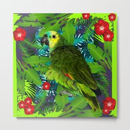 RED HIBISCUS & GREEN PARROT JUNGLE GRAY-GREEN ART Metal Print