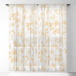 Aesthetic and simple bees pattern Sheer Curtain