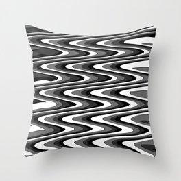 Monochromatic black white slur Throw Pillow