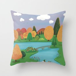 Colourful Countryside Throw Pillow