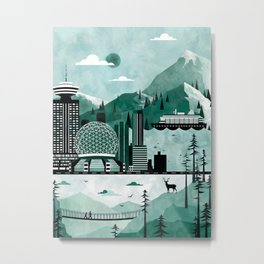Vancouver Travel Poster Illustration Metal Print
