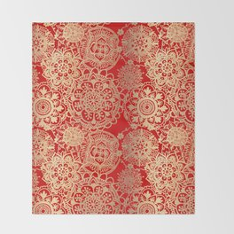 Red and Gold Mandala Pattern Throw Blanket