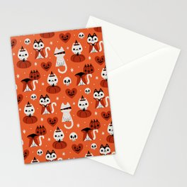 Halloween Kitties (Orange) Stationery Cards