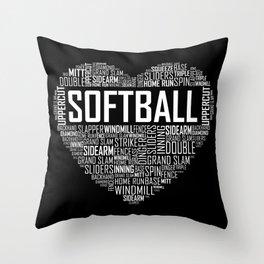 Softball Heart Love Throw Pillow