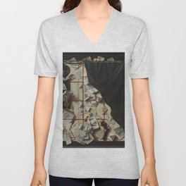 Cornelius Norbertus Gijsbrechts - Trompe l'oeil. Board Partition with Letter Rack and Music Book.jpg Unisex V-Neck