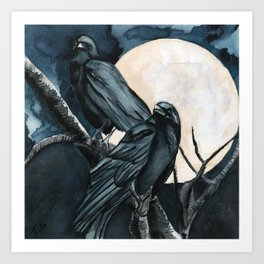 Thought and Memory Huginn and Muninn of Crow Moon series Art Print
