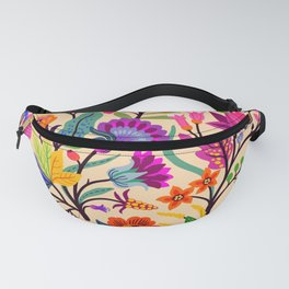Bright colorful flowers and tropic leaves.  Trendy Folk style. Floral pattern. Fanny Pack