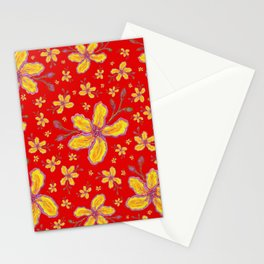 Yellow Flowers on Red Stationery Cards