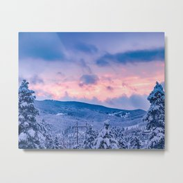 Deep Powder Trees // Fire Orange and Blue Sunset in the Rockies Metal Print