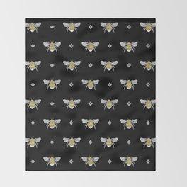 Bumblebee Stamp on Black Throw Blanket