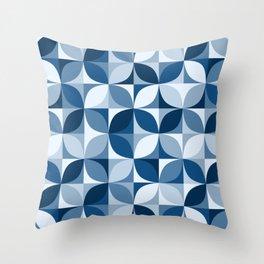 Classic blue retro circles mosaic Throw Pillow