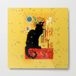Chat Noir New Years Party Countdown Metal Print