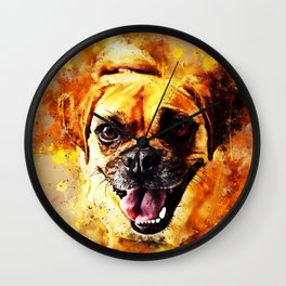 happy pug dog wsstd Wall Clock