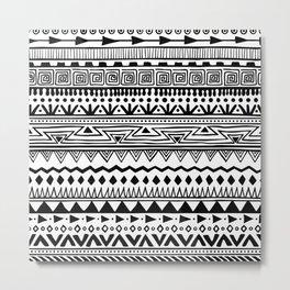 black and white tribal print Metal Print