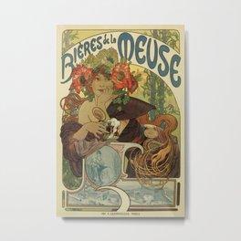 Alfons Mucha art nouveau beer ad Metal Print