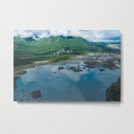 Mountains and alpine lake along the Trail of 98 in Valdez Alaska Metal Print