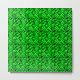 Volumetric design with interlaced circles and green rectangles of stripes. Metal Print