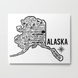 Alaska Map Metal Print