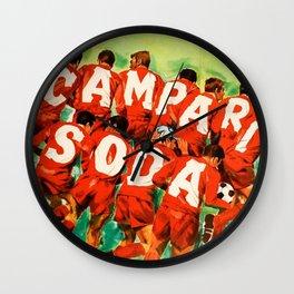 Vintage 1970 Soccer Motif Campari Soda Advertisement by Pijoan Wall Clock