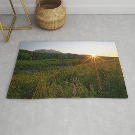 Mountain Summer Sunset Colorado Wildflower Crested Butte Landscape Rug