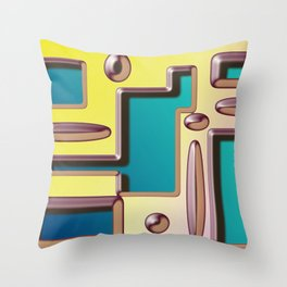 Digital Abstract Design with Embossed Effect Throw Pillow