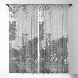 Williamsburg Bridge Black and White Photography Sheer Curtain
