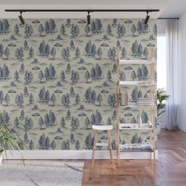 Alien Abduction Toile De Jouy Pattern in Blue Wall Mural
