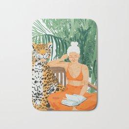 Jungle Vacay #painting #illustration Bath Mat