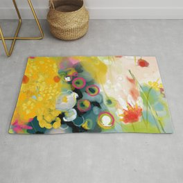 abstract floral art in yellow green and rose magenta colors Rug