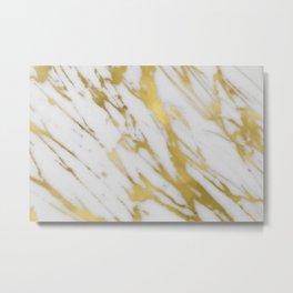 Gold White Marble Metal Print