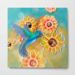 Hummingbird Bounty Metal Print