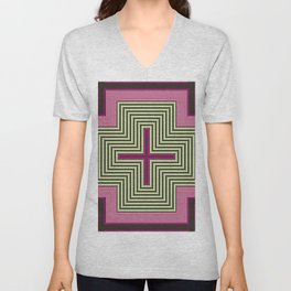 Abstract Yellow Pink Squares Unisex V-Neck